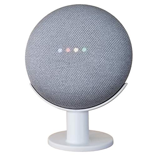 Mount Genie Pedestal for Nest Mini (2nd Gen) and Google Home Mini (1st Gen)   Improves Sound and Appearance   Cleanest Mount Holder Stand for Mini (White)