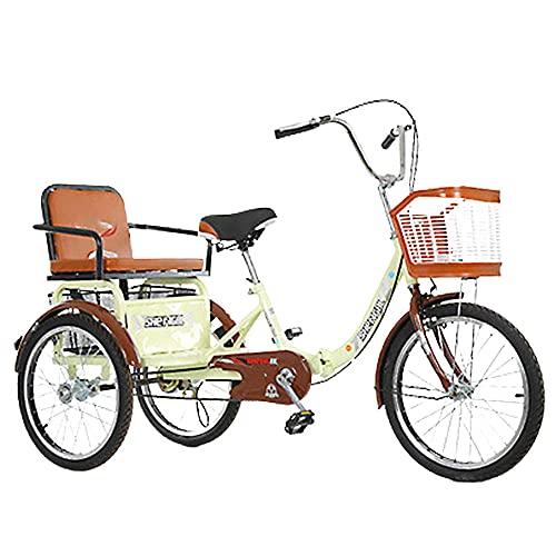 QQJL 16~20 Pollici Pieghevole Bici da Triciclo 3 Ruote Tre Ruote Mountain Bikes per Adulti Uomini Anziani Donne con Cestino e Sedile posteriore-16 Pollici con Una Singola Catena - Beige