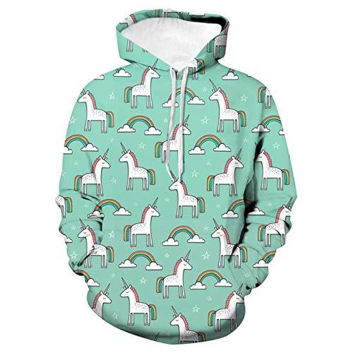 Loses mit Kapuze Paarhemd, Baseballuniform, Cartoon-Einhorn, M3D Print Hoodie,Long-Sleeved Hooded Top Sweatshirt with Pockets
