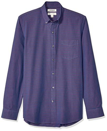 Amazon Brand - Goodthreads Men's Standard-Fit Long-Sleeve Poplin Shirt, Navy Red Horizontal Stripe, X-Large
