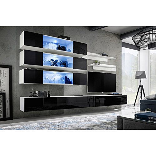 Paris Prix - Meuble TV Mural Design Fly XI 320cm Noir & Blanc