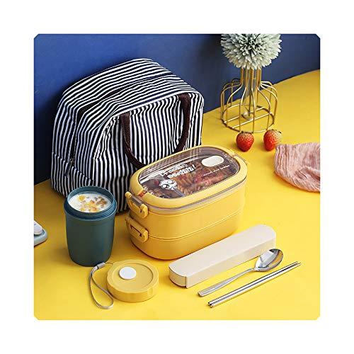 Caja de almuerzo con compartimento aislado, de acero inoxidable, color amarillo