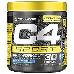 C4 Sport Pre Workout Powder Blue Raspberry | NSF Certified for Sport + Sugar Free Pre-Workout Energy