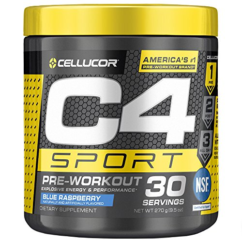 C4 Sport Pre Workout Powder Blue Raspberry | NSF Certified for Sport + Sugar Free Pre-Workout Energy Supplement for Men & Women | 135mg Caffeine + Creatine Monohydrate | 30 Servings