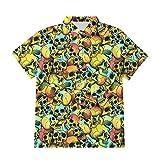 Ocuhiger Camisas con Botones A La Moda para Hombre Camisa Hawaiana con Estampado De Calavera Estampada En 3D Camisa Hawaiana De Manga Corta Hip Hop Beach Holiday Blusa Amarilla