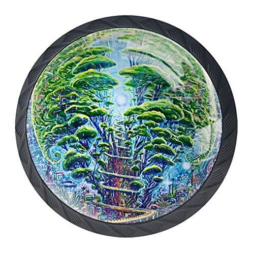 Pomelli in vetro di design per armadi e cassetti, maniglie per mobili da cucina, decorazione per la casa, occhiali, ragazza, Cerchio verde., 3.5×2.8CM/1.38×1.10IN
