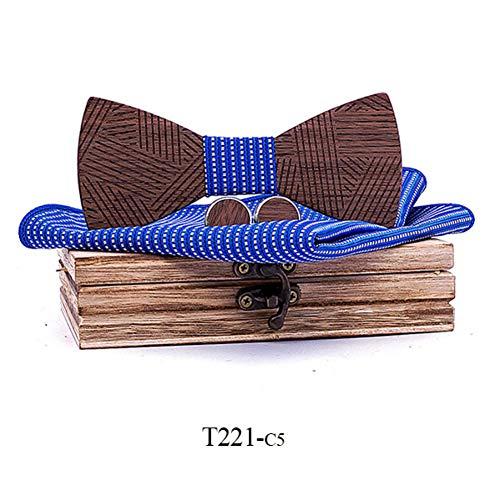 DYDONGWL Halsbanden, Heren Plaid Houten Bow Tie Set Gestreept Hout Bowtie Zakdoek Manchetknopen Sets Met Houten Doos Voor Heren Bruiloft Gift