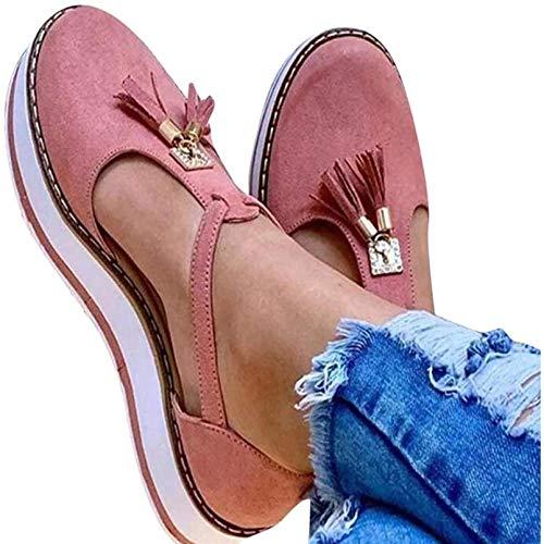 Heroine Sandalias Mujer Cuña Alpargatas Moda Bohemias Romanas Sandals Playa Transpirable, Antideslizante, Resistente al Desgaste Verano Tacon Zapatos,Rosado,42