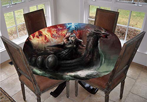Fantasy World Round Tablecloth,Lightning Wrath in Viking Thorn Ship Floating in Fiery Waves Odin Narrative Polyester Indoor Outdoor Tablecloth,90 Inch,for Spring/Summer/Party/Picnic Grey Orange