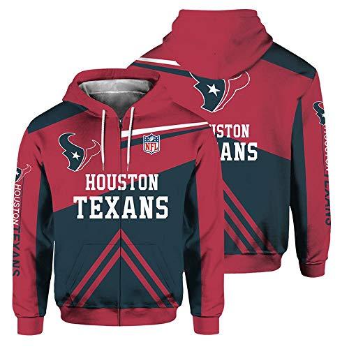 JKAINI Hombres Sudadera con Capucha De La Cremallera con Capucha - Los Aficionados De La NFL Houston Texans Rugby Chaqueta Deportiva De Manga Larga con Capucha Red-XL