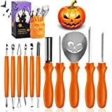 ILEBYGO Pumpkin Carving Kit,11 Pcs Stainless Steel Professional Halloween Pumpkin Carving Tools, Pumpkin Carving Set with a Skull Storage Carrying Bucket