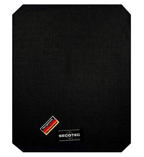 SECOTEC EW-HSE3 Aramid/Kevlar Ballistik Einschub-Platte für Schusssicheren-Weste HSE-Form 250 x 300 mm Schutz-Klasse 3, für Jagd, Polizei, Bundeswehr, Schützen, Sicherheitsdienst Security UVM.