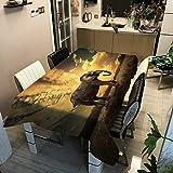 XXDD Cubiertas de Tela de Mesa, Mantel Rectangular para Cena, hogar, jardín, decoración de Cocina, a Prueba de Aceite, Cubierta de Mesa de Elefante a Rayas A10, 140x180cm