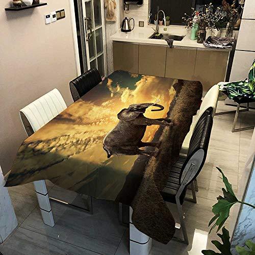 XXDD Cubiertas de Tela de Mesa Mantel Rectangular para Cena Hogar Jardín Cocina Decoración a Prueba de Aceite Cubierta de Mesa de Elefante a Rayas A10 150x210cm