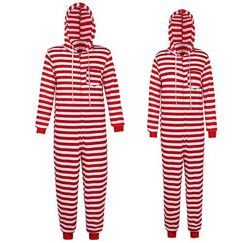 Haorugut Family Christmas Pajamas Set Christmas Onesie Adult Couples Christmas Pajamas Striped Men S