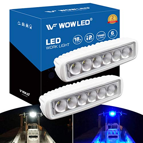 WFPOWER Boat Light 2 Pack, Blue and White Color 2 Mode LED Marine Spotlights Waterproof, 6 inch Deck Dock Flood Light for Boat Accessories Pontoon Fishing Truck SUV ATV 12V White