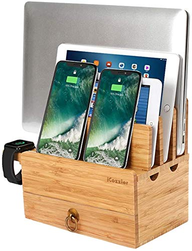 Gymqian Soporte de Bambú Extraíble de 4 Tragamonedas con la Estación de Carga de Dispositivo Multi-Dispositivo de Cajón Adecuado para I, Iphone, Smartphones, Tabletas, Computadoras