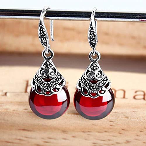 AQUALITYS Pendientes de Gota de Granate Redondos de Plata de Ley 925 para Mujer, Piedras Preciosas Rojas Naturales, rubí, joyería Fina, Mejores Regalos, Rojo