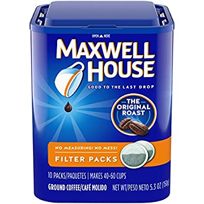 Maxwell House Original Medium Roast Ground Coffee Filter Packs, 10 Count (Pack of 4)