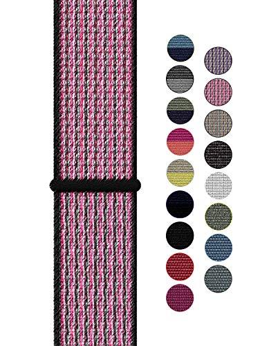 Naomo Compatibile con Watch Cinturino 42mm/44mm, Nylon Cinturini di Ricambio per Series 5/Series 4/Series 3/Series 2/Series 1 (42mm/44mm, Nylon Rosa Scintilla/Mora)