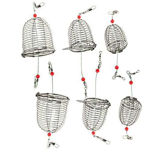 WELWIK 6PCS Stainless Steel Carp Fishing Bait Trap Cage Feeder Basket...