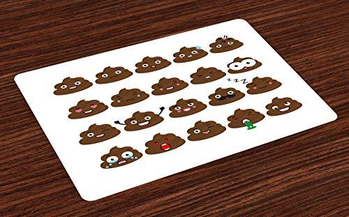 ABAKUHAUS kak Emoji Placemat Set van 4, emoties, Wasbare Stoffen Placemat voor Eettafel, Chocolade en White