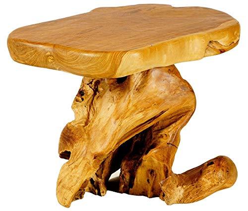 WINDALF Rustikaler Wohnzimmer-Tisch ANCALAGON 64 cm Natur-Beistelltisch Handarbeit aus Wurzelholz