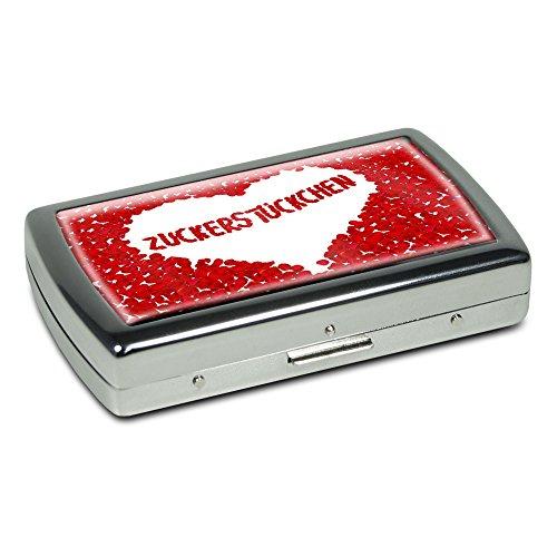 Zigarettenetui mit Namen Zuckerstückchen - Edle Chrom-Metallbox mit Design Rosenherz - Zigarettenbox, Zigarettenschachtel, Metallbox
