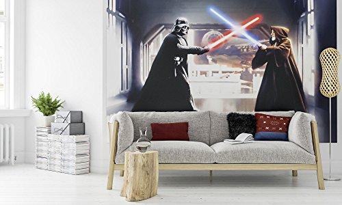 Komar - Star Wars - Vlies Fototapete VADER VS. KENOBI - 300x200cm - Tapete, Wand Dekoration, Lichtschwerter - 007-DVD3
