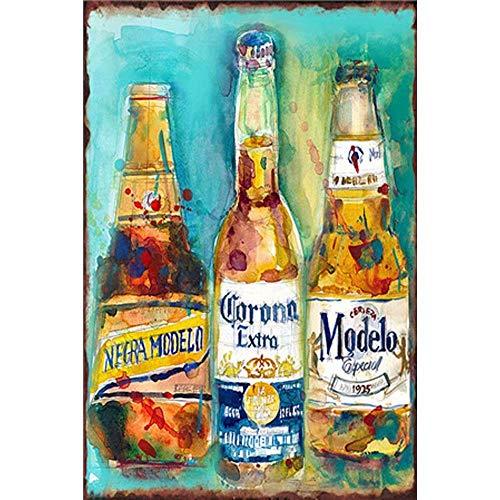 Modelo Bier-Blechschild Vintage Wandposter Retro Eisen Malerei Metallschild Blatt für Bar Cafe Garage Zuhause Geschenk Geburtstag Hochzeit