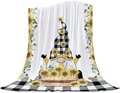 Lindo Girasol GNOME Granja de Cuadros Tirar de la Manta de Franela Manta de Lana, Manta Liviana para Las Mujeres Adultas Niña, Bebé de la Microfibra de la Siesta Manta para el Sofá, la Ca,40'x50'