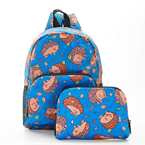 Eco Chic Foldable Expandable Mini Backpack 100% RPET Material Hedgehog Blue