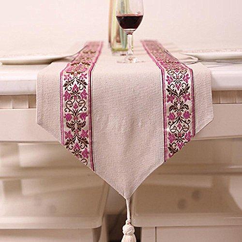 Table Lin nappes Table Runnerstable Drapeau simple moderne Couleur unie en lin Lin Tassel Nappe (33 * 210 cm), 1, 33*210cm