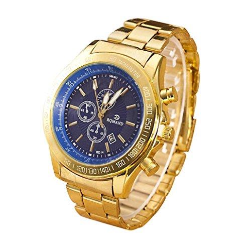 Yogogo Herren Quartz Analog Armbanduhr, 1 Cent Artikel | Legierungsband | Dekoration | Geschenk | Edelstahlgehäuse | Quarzwerk | 1.9cm Bandbreite | 24cm Bandlänge (Blau)