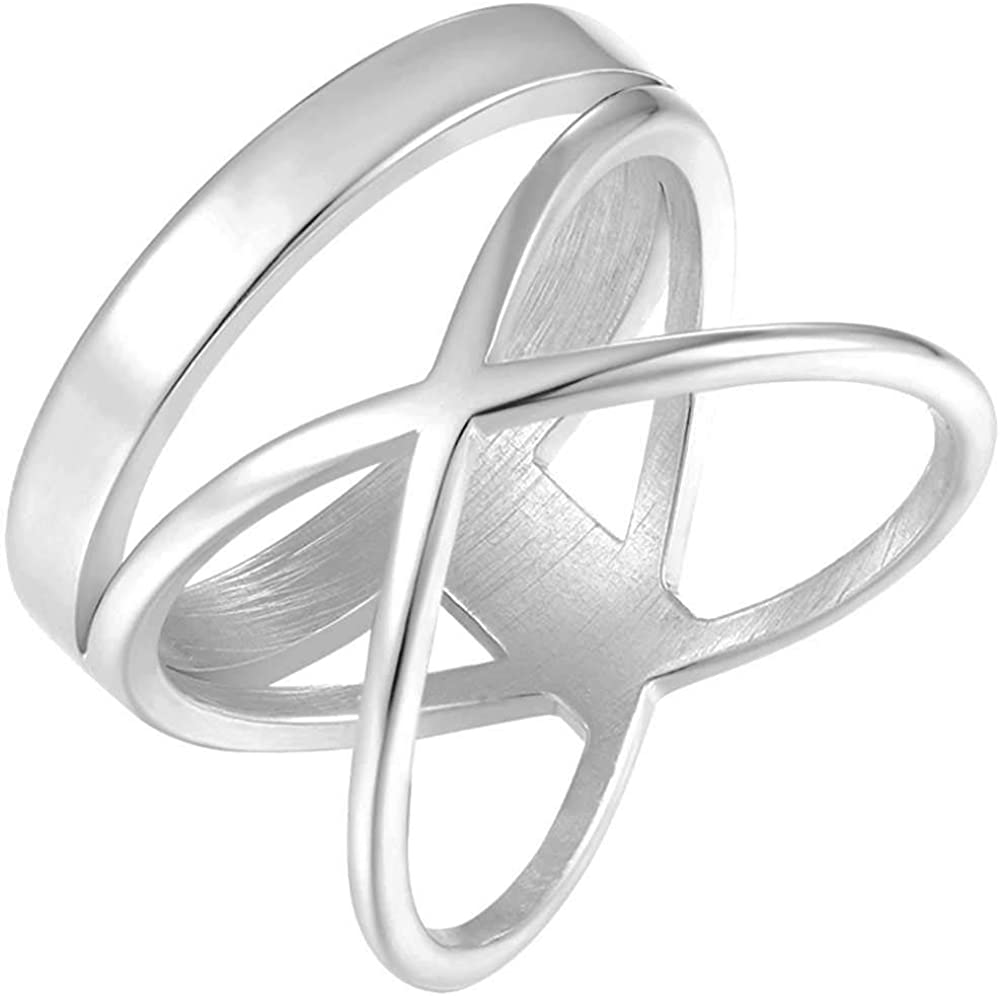 Stainless Steel Classical Plain Wrap Style Promise Statement Wedding Ring
