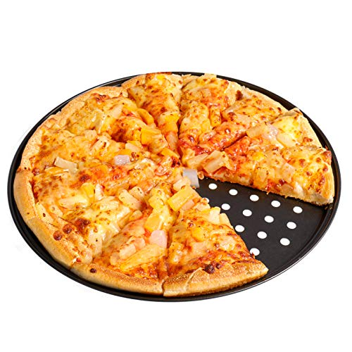 Pizza Pan with Holes for Oven 12 Inch Non-Stick Carbon Steel Perforated Pizza Crisper Pan, Round Pizza Bakeware for Home Kitchen Oven