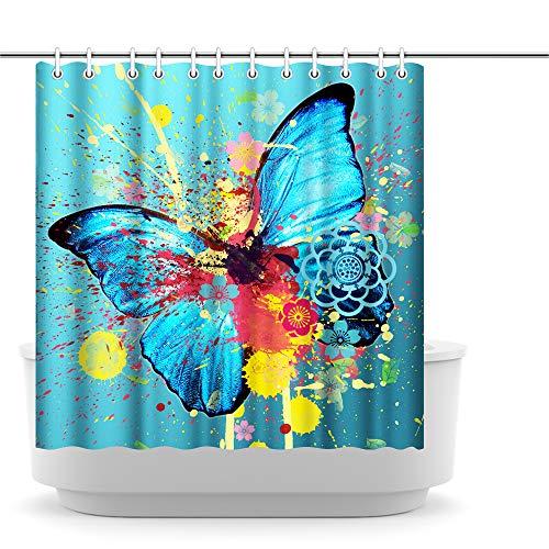 Artsbay Schmetterlings-Duschvorhang, dekorativ, bunt, Wtaercolor Schmetterling, Frühling, Insekten, Blaugrün, Duschvorhang für Badezimmer, Bohemian, dekorativer Polyesterstoff, langlebiger Badvorhang
