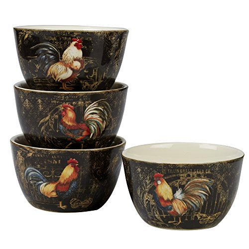"""Certified International Gilded Rooster Set/4 Ice Cream Bowl 5.25"""", Assorted Designs,One Size, Multicolored"""