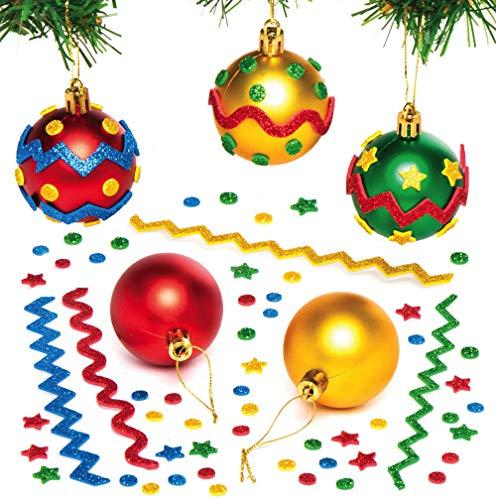 Baker Ross AX526 Weihnachtskugeln für Kinder, 8 Stück, Christbaumschmuck für kreative Kunst und Bastelarbeiten zum Bemalen und Dekorieren