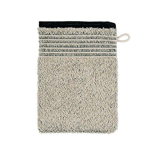 MÖVE Eden Gant de Toilette avec Passepoil 15 x 20 cm, Fabriqué en Allemagne, 80 % Coton / 20 % Lin, Nature / Black (Beige)