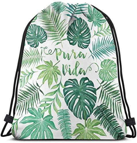 KINGAM Viaje Duffel Bolsas Tropical Pura Vida Palma Hojas Y Monstera Cordón Mochila Bolsa Mujeres & Hombres Sport Gym Bag