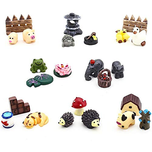 24 pcs Miniature Garden Ornaments, Fairy Garden Animals for Dollhouse Plant Pot, Home Decoration