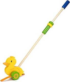 Imagination Generation Wooden Wonders Push-n-Pull Waddling Duckling with Rubber Feet
