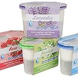 12 x Luftentfeuchter, je 500 ml, Innenraumentfeuchter mit Lufterfrischer, mit 4 verschiedenen Düften: Lavendel, Meer, Rose, Jasmin,