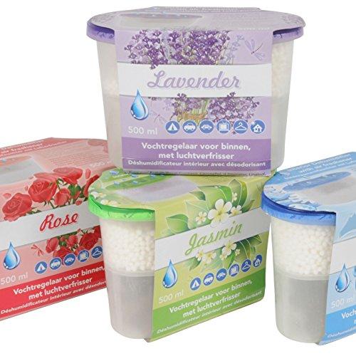 8 Stück Luftentfeuchter mit Duft (Rosenduft, Lavendel, Jasmin, Ocean) , Hilfreich gegen Dampf, Schimmel, Mehltau und Kondensation, absorbiert Wasser bis zum dreifachen Eigengewicht