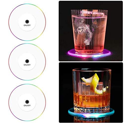 KUTO Posavasos Led de 3 Piezas Posavasos de Luz Led de Cristal Acrílico Copa Delgada Copa de Cóctel Bar Barman Posavasos Luminoso para Fiestas Bodas Bares