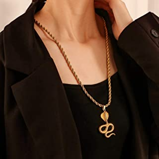 YERTTER Dainty Twist Chain Snake Pendant Long Chain Necklace Men Necklace Jewelry for Party Prom Vacation