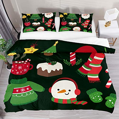 SENNSEE Christmas Tree Santa Claus Snowman 3 Piece Duvet Cover Set Full Size 80'x90' Soft Quilt Cover Decorative Bedding Sets 1 Duvet Cover 2 Pillowcases Polyester Bedspread