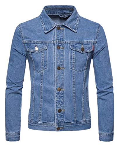Men's Fashion Denim Jacket Ripped Distressed Jeans Jacket Rucker Jacket for Man Light Blue XS