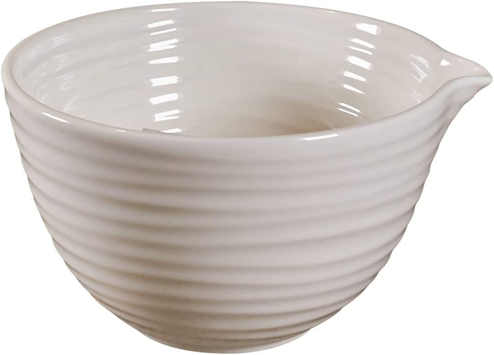 وعاء خلط سيراميك مع فوهة صب من سيروا، وعاء كبير من البورسلين باللون الأبيض بسعة 3 لتر بتصميم مموج